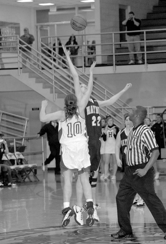 - photo courtesy Blount Photographic Hayden's Tiffany Myrick battles for the tip.