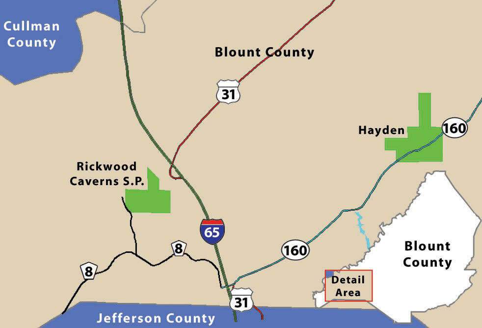 Rickwood Caverns State Park is located on Rickwood Caverns Road off of county road 8 about three miles west of I-65.