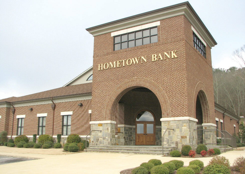 HomeTown Bank's 9500-square-foot building features a brick and stone entrance.