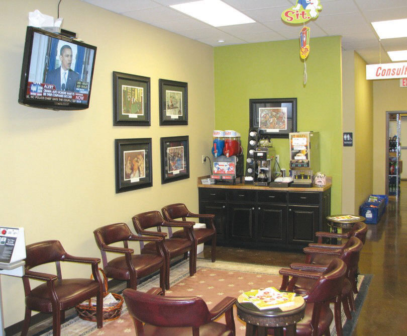 A 42-inch television, comfortable chairs, and free coffee await the customer at J&M Pharmacy in Oneonta.