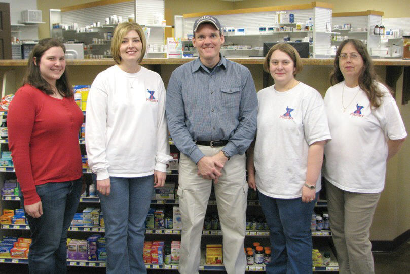 The staff of J&M Pharmacy -  from left, Brooke Conrad, Janna Faust, Mike Steadman, Amy Young, and Wanda Nolan.