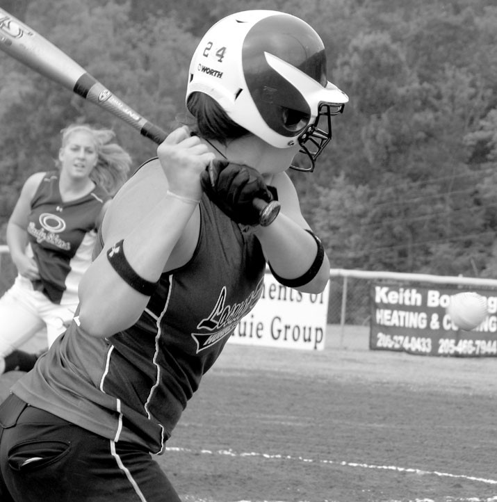 Locust Fork's Jordan Hood eyes a pitch from Oneonta's Rebecca Sloan during yesterday's 4A Area 10 Tournament.