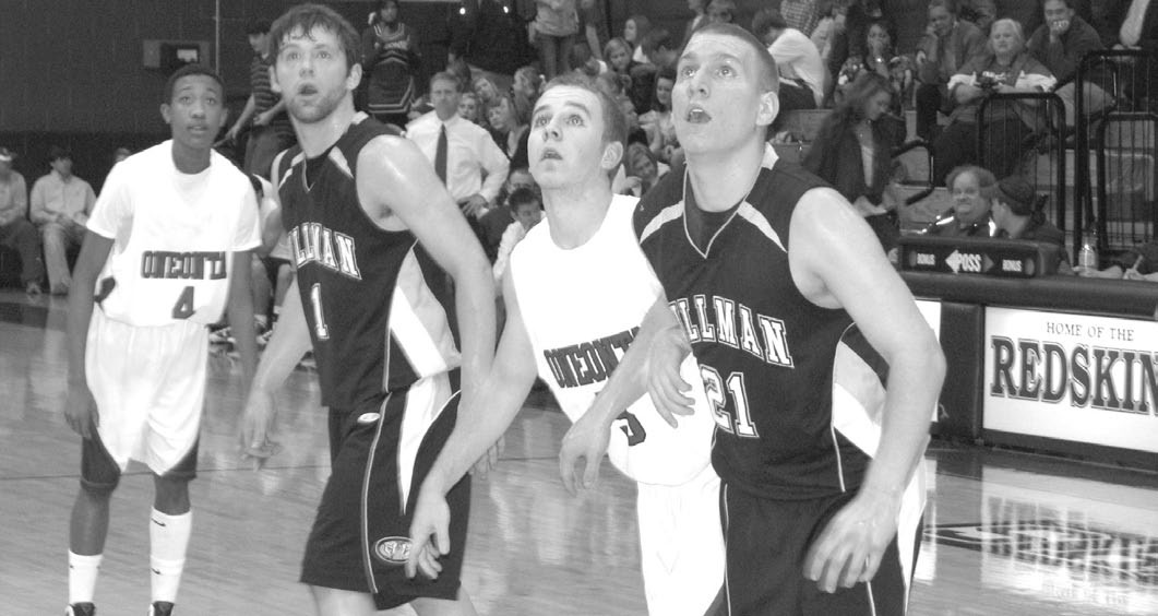 Oneonta's Keenan Warren (4) and Cory Glasscock (5) and Cullman's Connor Adams (1) and Graysen Smith (21) eye a rebound.
