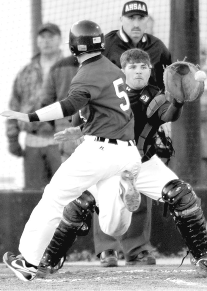 Susan Moore catcher Dakota Ayers reaches for the throw as Oneonta's Travis Sims tries to score.