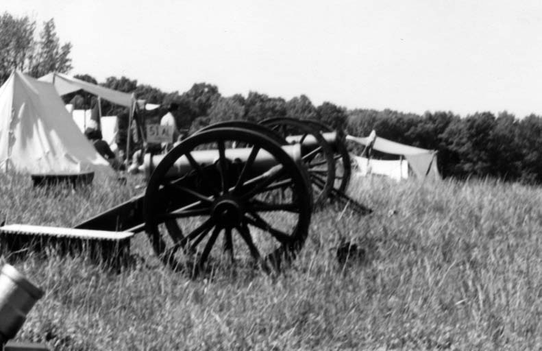 Tents and cannon are part of civil war reenactment.