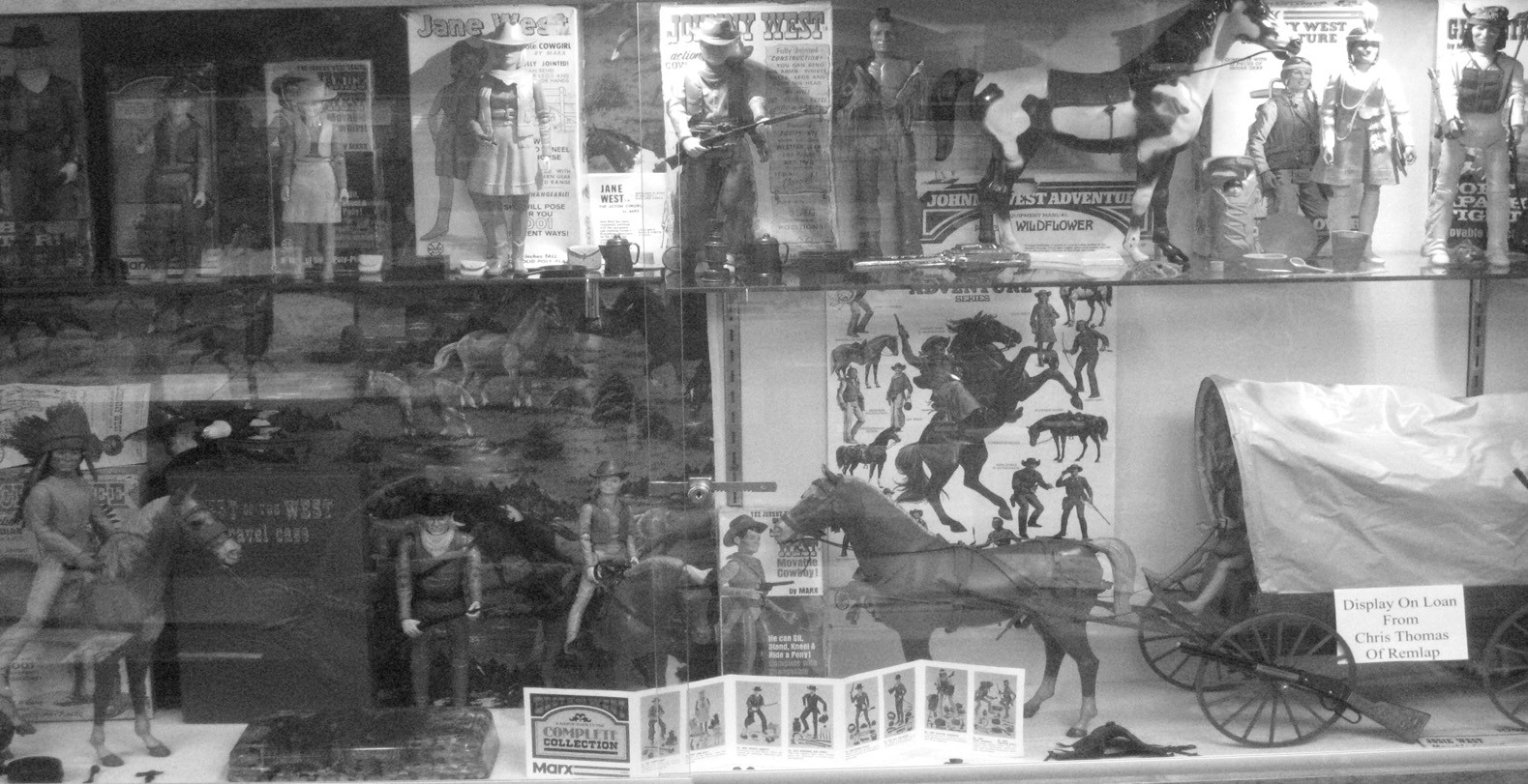 Currently on display at Memorial Museum in Oneonta is the 'Best of the West' display, a collection of figures of near-mythical status from the Western frontier. Produced by Louis Marx and Company, the collection took its inspiration from both actual historical figures like Daniel Boone and Geronimo and television characters from the 1950s and 1960s, the company's heyday. When licensing costs became too great to feature TV and movie personalities, the company introduced its own generic line of figures, such as Johnny West (John Wayne?) and Jane West. The display is on loan from Chris Thomas of Remlap. – Ron Gholson