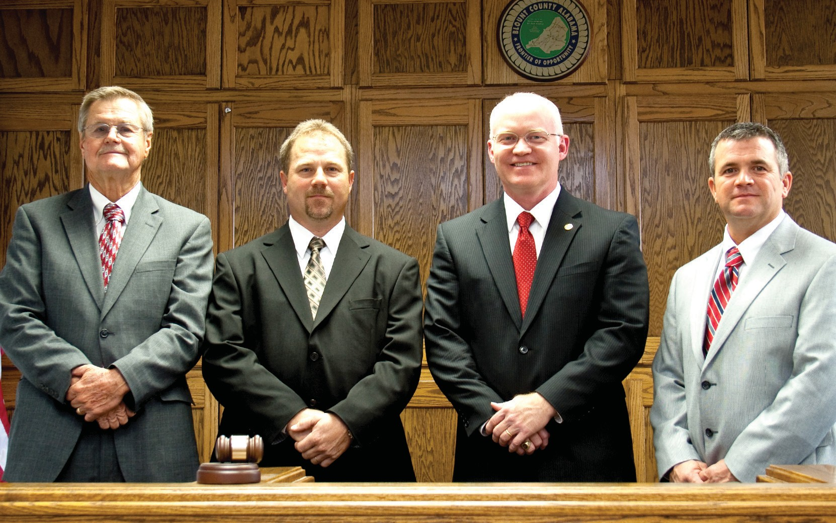 The new Blount County Commission is shown (from left): District 4's Waymon Pitts, District 3's Dean Calvert, Commission Chairman David Standridge, and District 1's Allen Armstrong. Missing is District 2 Commissioner Robert Bullard (see below). He died Tuesday, the day before the swearing in of the commission which, as its senior member, he had looked forward to leading.