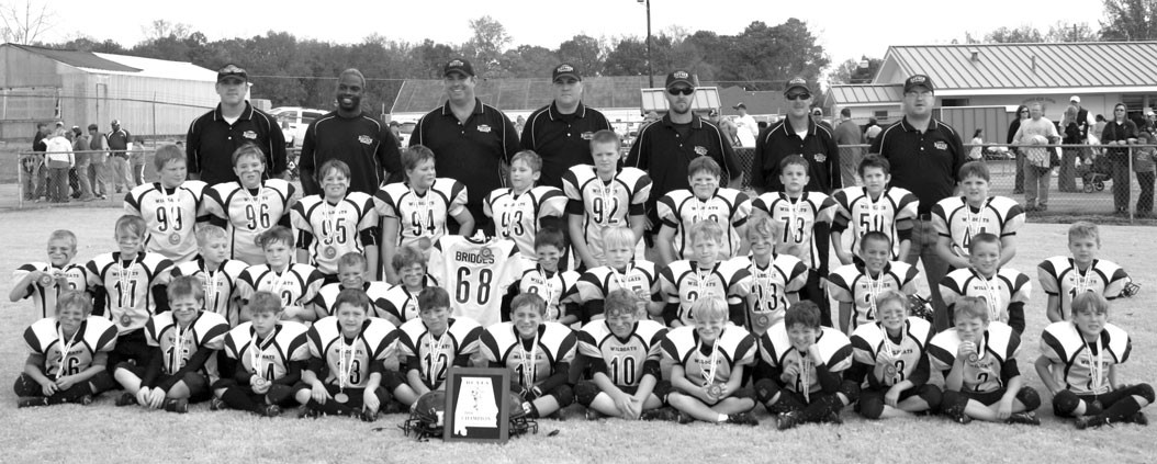 The Hayden Sophomore youth football team won the Blount County League championship by knocking off Oneonta in the finals. Pictured are (front row, left to right) Jason Witt, Samual Aycock, Cody Young, Logan Smith, Reece Keller, Hunter Higdon, John Olvey, Daniel Kilgore, Dylan Scott, Micah Alexander, Damion Jones, and Brandon Smith. Middle row (l to r) Owen Gooch, Drew Robertson, Justice Churchwell, Tres Betts, Brayden Hodges, James Culwell, Jesse Sherrell, Brayden Hallmark, T.L. Franklin, Stanton Deloach, Conner Jackson, Hunter Alexander, and Dakota Layton. Back row (l to r) Lindon Howard, Caden White, Caleb Parker, Matthew Phelps, Dalton Arledge, Nick Purvis, Mason Taylor, Ben Keplinger, Daniel Pennington, and Trenton Sawyer. Coaches (l to r) Scott Alexander, Anthony Turner, Jeff Arledge, Jason Hodges, Lee Franklin, Jeff Smith, and Scott Aycock. Players Kason Marlin and Ryan Brunk and coaches Jason Marlin and Mike Jackson are not pictured.