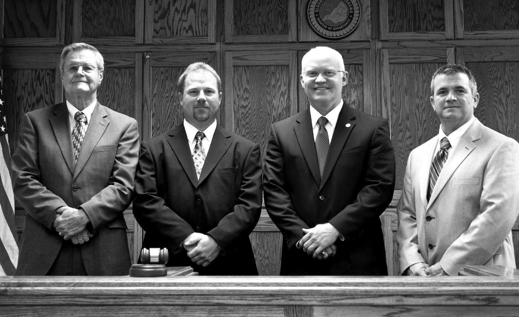 The new Blount County Commission is shown (from left): Waymon Pitts (District 4), Dean Calvert (District 3), Commission Chairman David Standridge, and Allen Armstrong (District 1). Missing is District 2 Commissioner Robert Bullard.