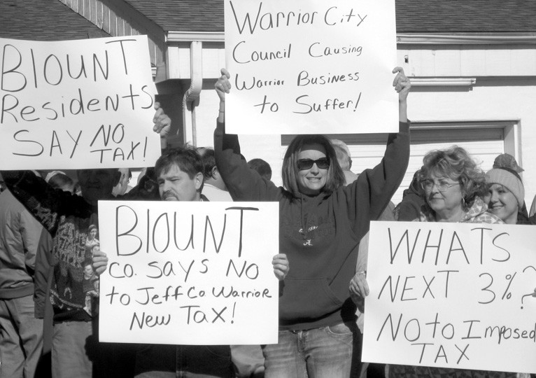 Blount County citizens protest Warrior sales tax