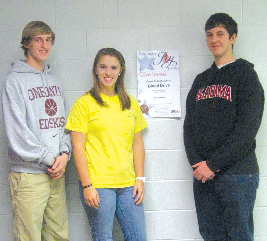 say Alex Coffey, Kelsey King, and Zach McMinn, as they talk about Oneonta High School's blood drive set for this Friday, March 18, between 8 a.m. and 3 p.m. in the high school lobby. The drive was delayed by weather from its former date and was recently rescheduled. Prospective blood donors under 16 must have parental consent and those over 17 must bring photo IDs and remember to eat and drink well before giving.
