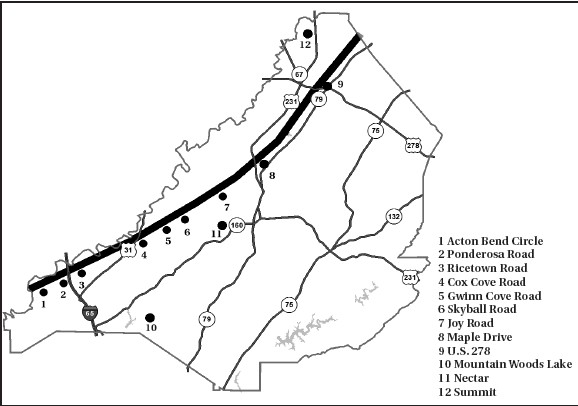 Storm track showing 15-mile trail of destruction of afternoon storm along county's northwestern boundary; 10, 11, and 12 show location of pockets of damage from morning storm affecting Mountain Woods Lake, Nectar and Summit areas. While damage was concentrated in areas shown, other isolated areas were also affected.