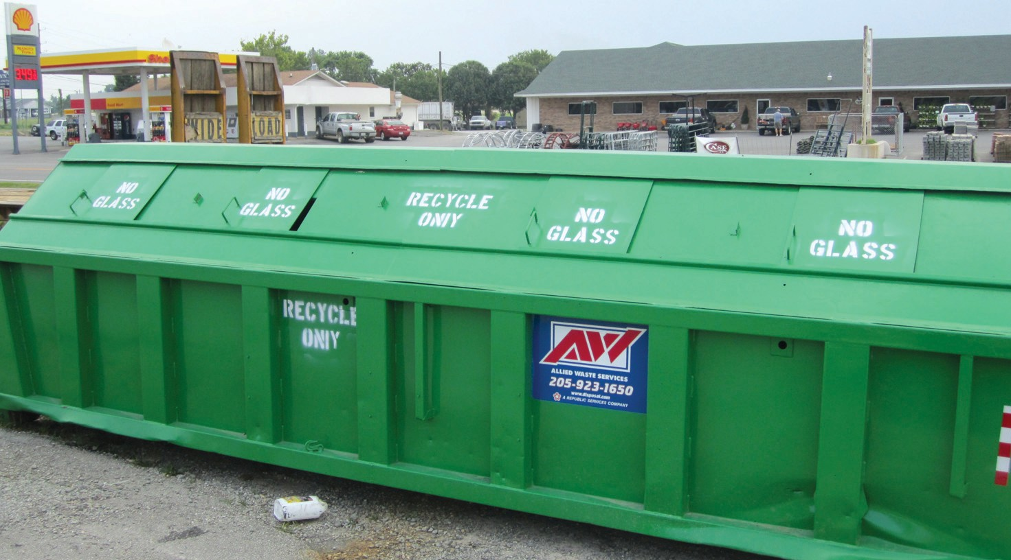 Big green recycle containers are placed for public access at the transfer station (landfill) on Armstrong Loop Road near Hayden, at the Blount County Water Authority on Ala 79 at Cleveland, and at Straight Mountain Volunteer Fire Department on county road 29.