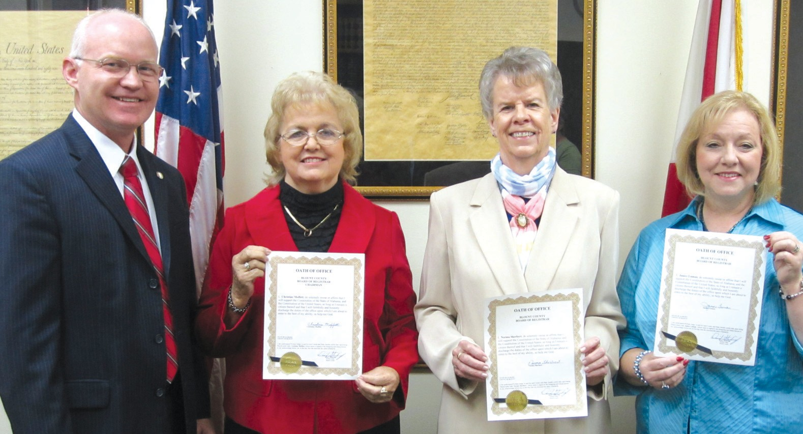 County Board of Registrars members (from left) Christine Moffett, Norma Sherbert, and Janice Luman prepare for a busy election year as they are sworn in earlier this week by Probate Judge David Standridge, at left. They will handle registration and validation of Blount County voters during their four-year terms.