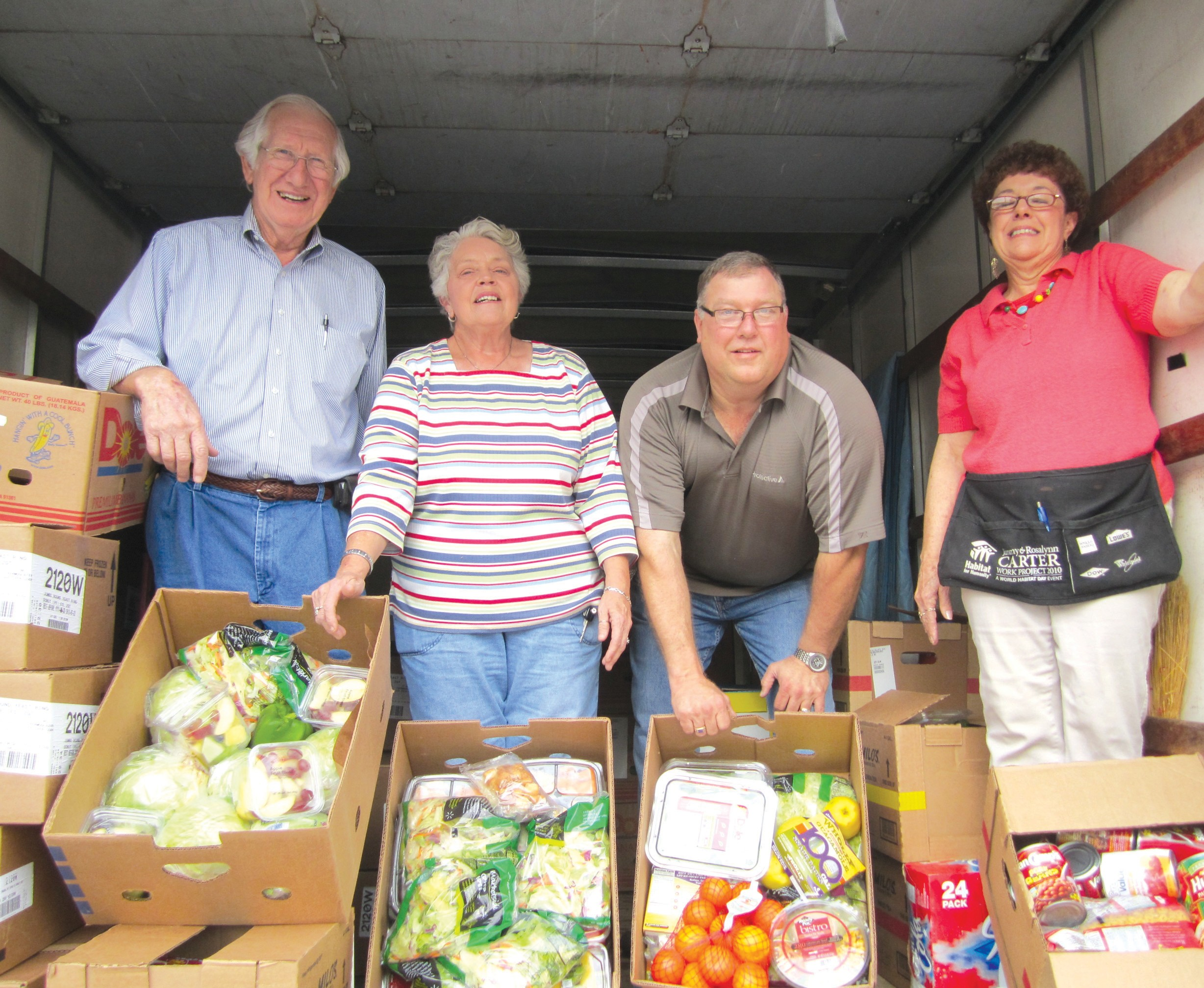 "What is the retail value of food donated by Walmart to Hope House since August 2010? From left, Bud Jones, Judy Snelson, Jim King, and Dianne Stevenson display some of the fresh produce and canned goods contributed regularly by Walmart to the Hope House food bank. Jones, Hope House director, said the pressure on the agency to provide food and ""everything you can think of"" is increasing every week. ""We have about 30 walk-ins and 50 or more calls a day from people asking for help with food, prescriptions, propane, power bills, tires, clothes, cooking utensils, furniture, appliances, baby sitters, dental bills, school supplies..."" The list is endless. ""The county is in the worst financial condition in my lifetime,"" Jones added. ""We have people who have been our strong supporters, who are now coming in for help. People that were hanging on last year trying to ride it out, have nothing to hang onto any more. So far, thanks to Blount County people, our resources are holding out, but we're being asked to do more,"" he said. – Ron Gholson"