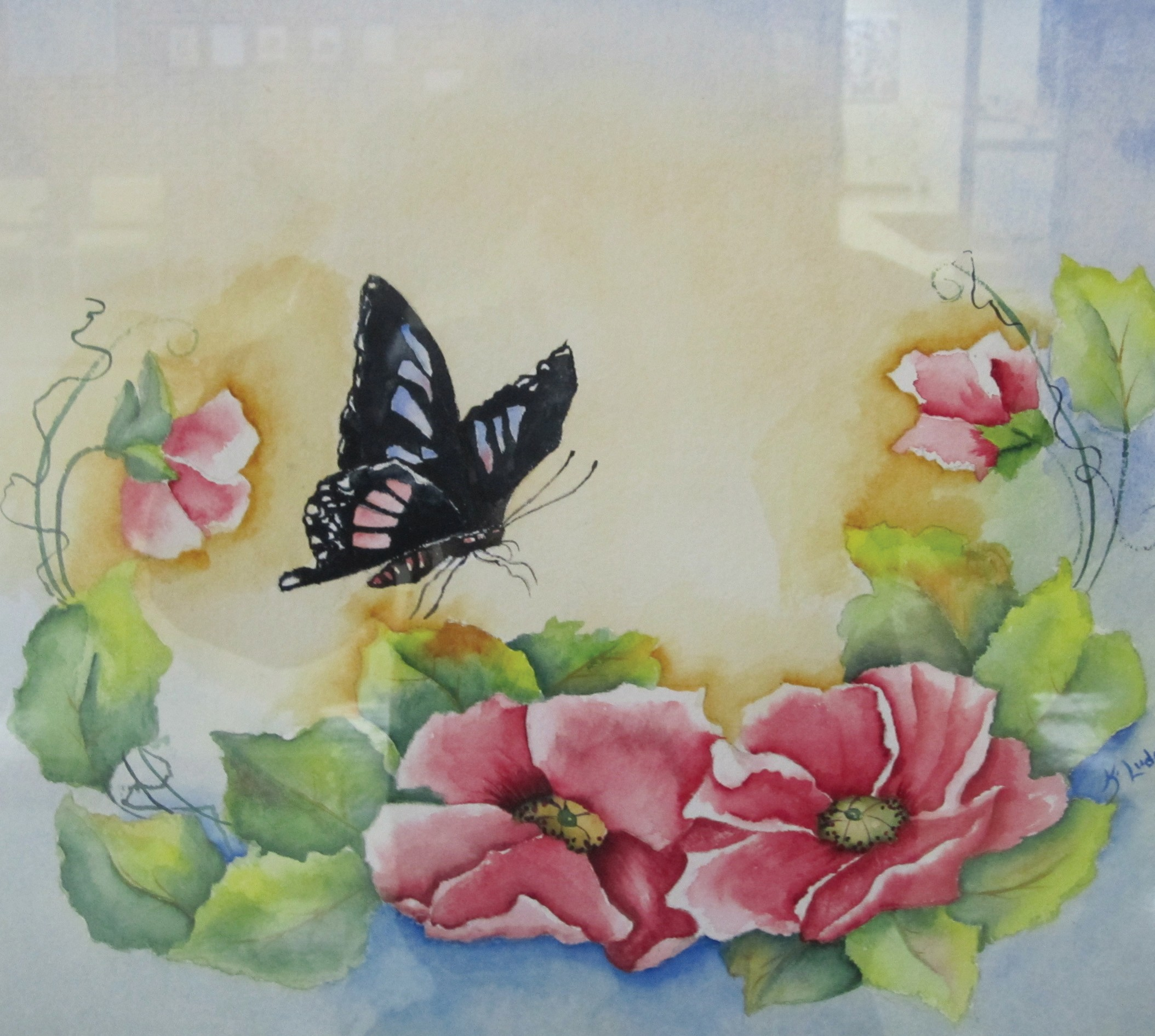 Butterfly and flowers: Kitty Ludolf