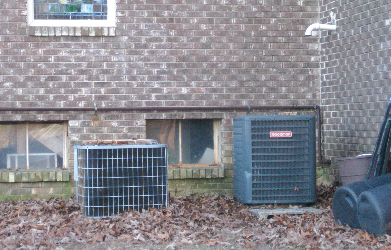 Air conditioning units like these, installed at rural churches in out-of-the-way locations without fencing or enclosures for protection from theft, are like 'giving coyotes a free meal,' according to a local insurance agent.