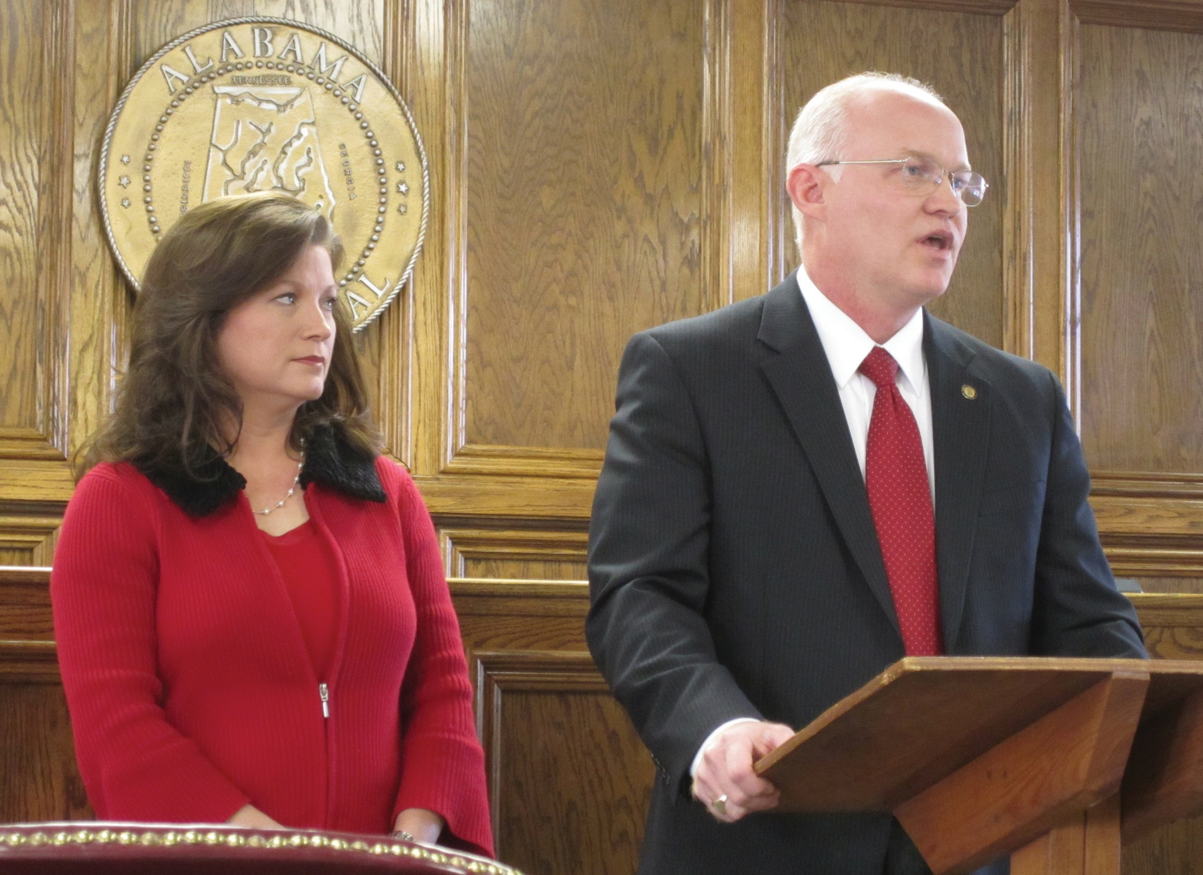 Probate Judge David Standridge, accompanied by his wife Danna, announces his candidacy Friday for the Republican nomination for U.S. Representative, District 6. A crowded field of candidates promises to give incumbent Spencer Bachus the most serious challenge of his 10-term career.