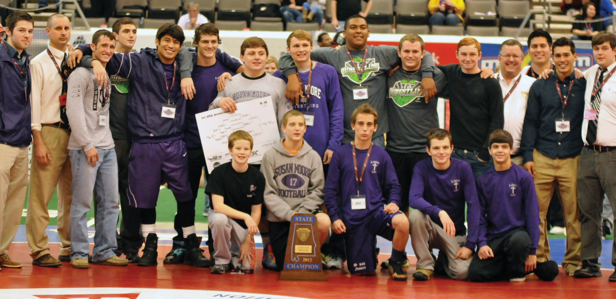 The Susan Moore High School wrestling team went to Huntsville last week and brought home the Alabama 1A-4A state title. The team, under the direction of head coach Andy Holland, led for most of the tournament but fell behind St. Clair County on Saturday. However, the Bulldogs rallied for the win with 91 points, just ahead of Oak Grove at 86.5 points and St. Clair County at 86 points. Susan Moore's Cody Self, who was the state 189-pound champion last year, blitzed through the state tournament with three straight pins to win the 195-pound class. Other wrestlers that placed high at the state tournament: Freddy Hernandez (2nd place – 170-pound), Dylan Bishop (2nd place – 145-pound), Ty Sissom (3rd place – 113-pound), and Andy Waller (3rd place – 182-pound). – Rob Rice