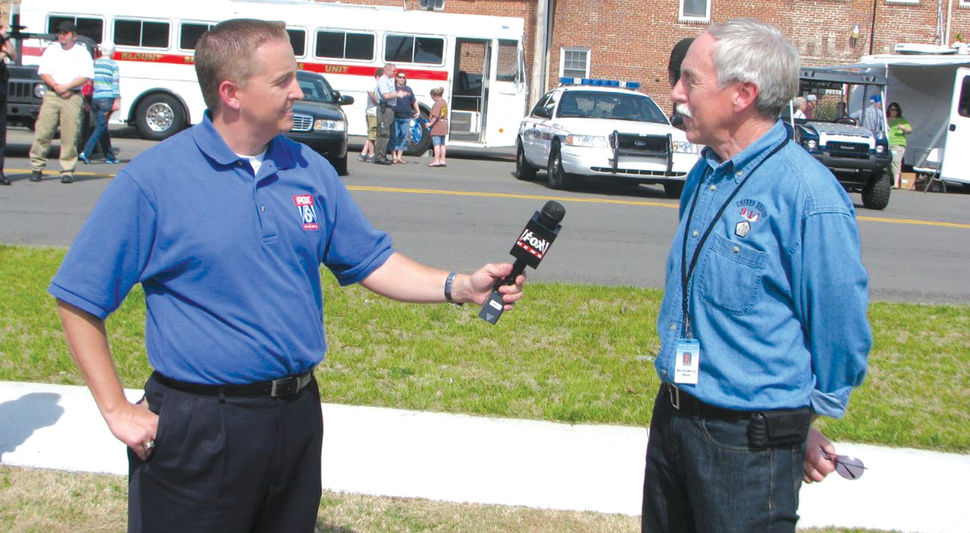 Fox 6 meteorologist Wes Wyatt talks to Blount County Emergency Management director Max Armstrong during Saturday's Safety Fair. The event is sponsored by the Oneonta Public Library and director Gail Sheldon said that attendance this year was more than double that of last year's inaugural event. Great weather – sunny skies and temperatures in the 70s – certainly made things comfortable for fair-goers. There were plenty of emergency vehicles that could be toured outside and several displays set up in the library, including a piece of metal from the World Trade Center towers that is part of a 9/11 tour. Several agencies – especially police and fire personnel – contributed to the event. – Rob Rice