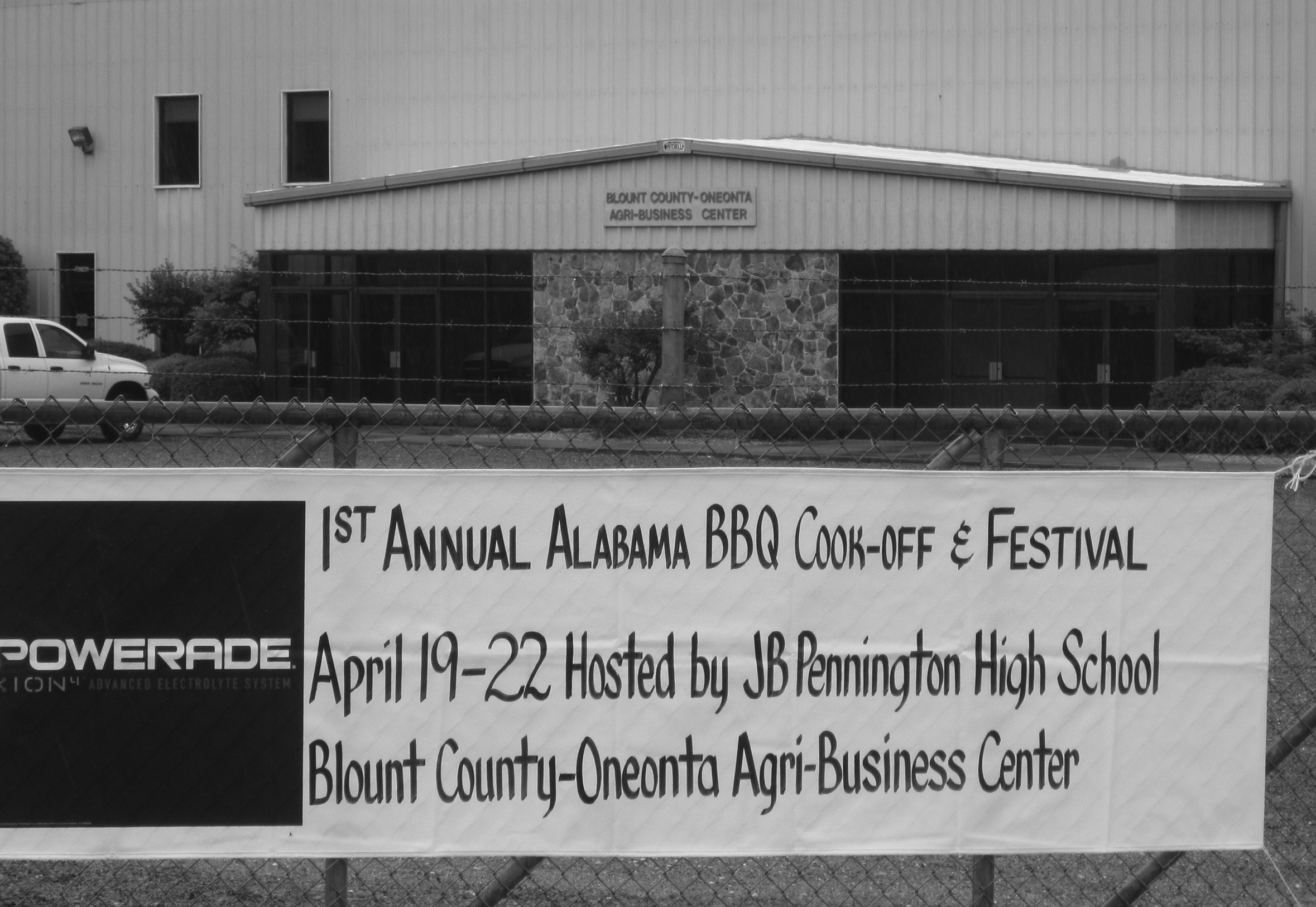 Blount County-Oneonta Agri-Busines Center: site of First Annual Alabama BBQ Cook-off and Festival, where local BBQ pros go up against 'the big boys': out-of-staters from Virginia and Texas.