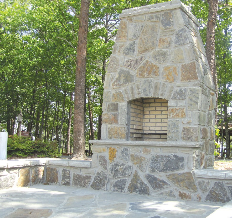 New fireplace with impressive chimney at Palisades Park