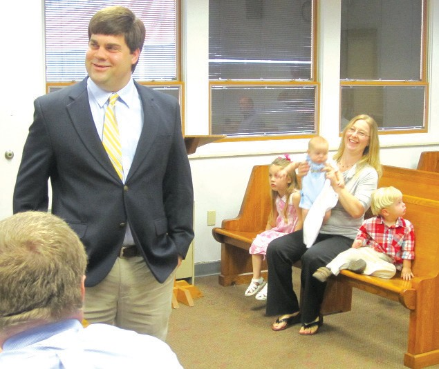 Introduced to the commission and audience at Monday's business meeting was at left, Winston J. Sitton, 33, new county engineer for Blount County, along with his wife Leslie, daughter Lydia, 4, son Soloman 2, and newborn Nicolas, 4 months. Sitton, originally from County Line, is a senior engineer for Shelby County.