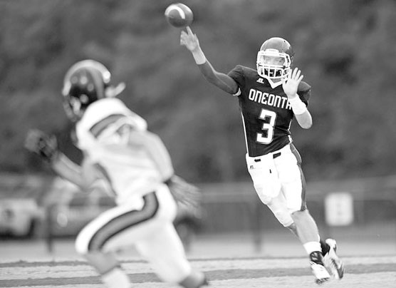 Oneonta quarterback Cody O'Toole releases a pass during last week's jamboree against Alexandria.