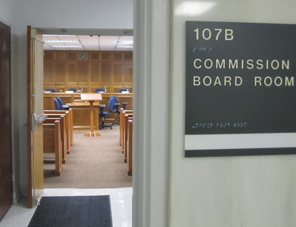 A lobby's-eye view of the commission boardroom where closed meetings of the Blount County Merit Board are held. If Mitchell elects for the hearing to be open to the public, a larger room such as the small courtroom at the courthouse or the auditorium at the Frank Green Building will need to be used to accommodate those interested in following the proceedings.