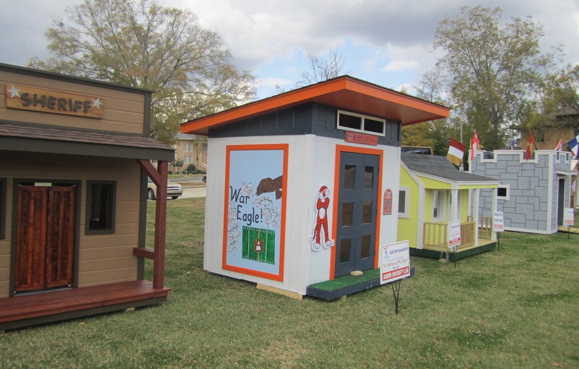 Three of the four playhouses shown here – and four others not shown – will be sold at auction on Nov. 11 – unless some impatient buyers can't wait that long.