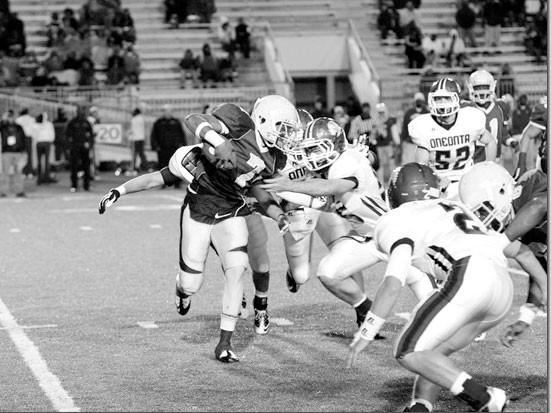The Redskin defense drops the Jaguar quarterback for a loss.