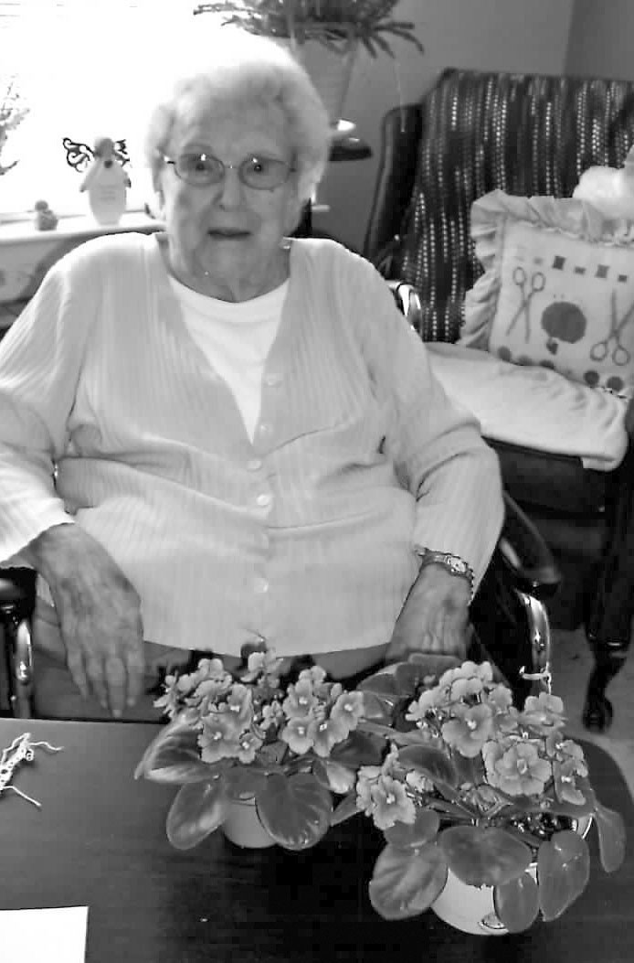 Elsie Simpson grows and tends to her beautiful violets.