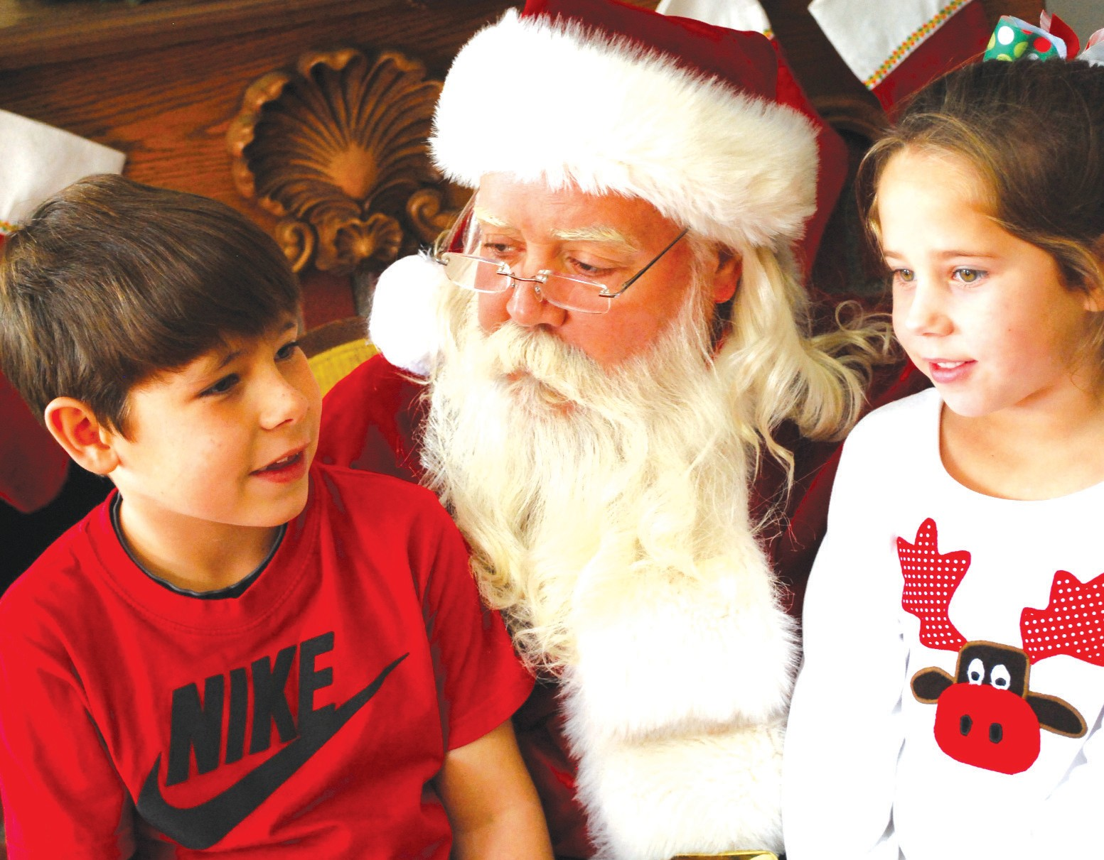 Landon and Madison Gargus, children of Eric and Kristen Gargus, got to meet and talk with Santa Claus last year. Santa will be back again when he comes to downSee town Oneonta on Dec. 7 and 8.