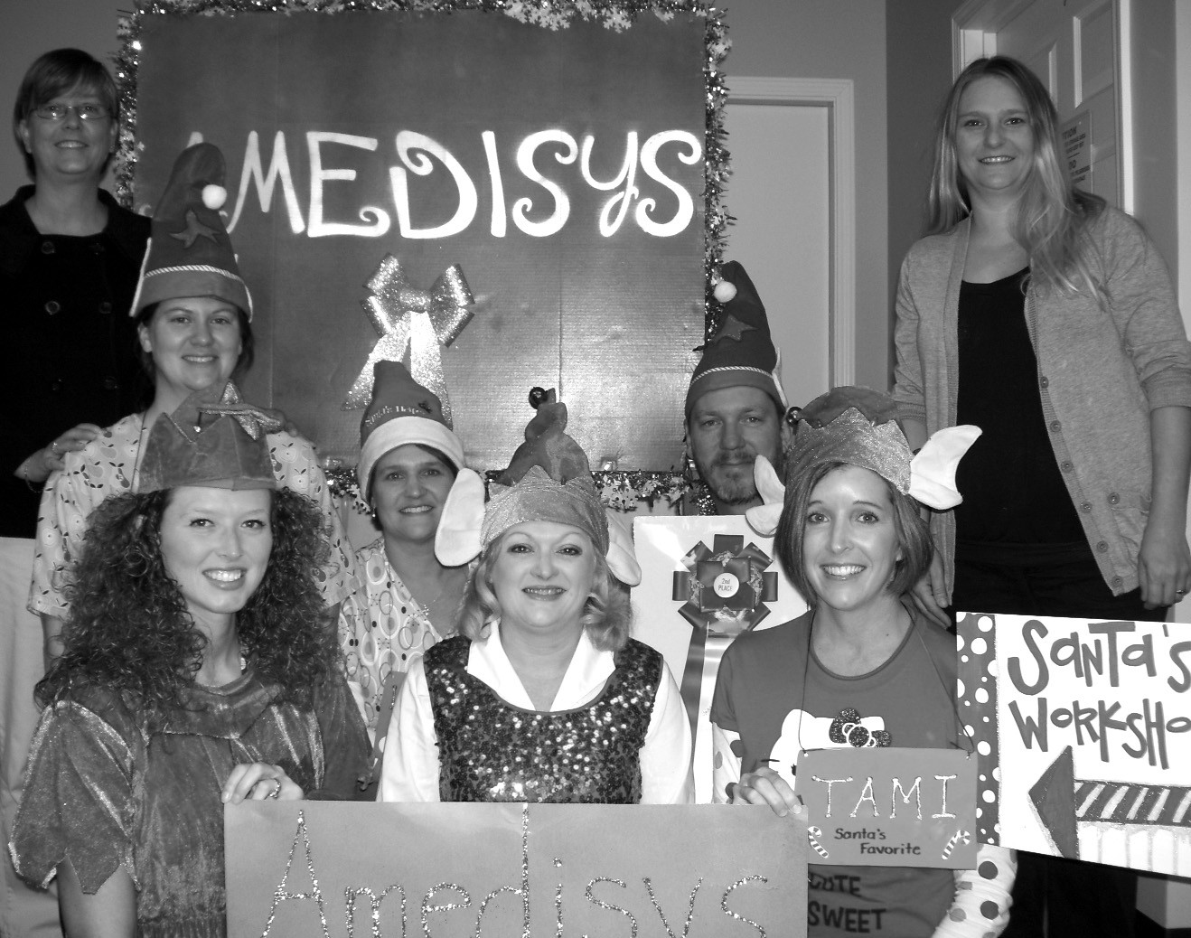 The Amedisys Staff, back row from left to right: Lori Alexander, Kristi Vincent, Leigh Ann Howse, Jeffrey Terrell, and Brandy Chastain. Front row left to right: Christie Holt, Celia Morton, and Tami Rawls. Not pictured: Tammy Shelton, Pam Roberts, and Holly Kilpatrick.