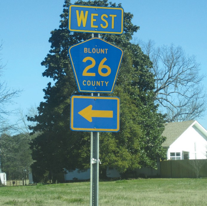 County road 26 traverses the county east to west from Ala 75 north of Hendrix, through Blountsville and on to the Cullman County line near Garden City. At 19.2 miles, it is the longest major collector maintained by the county.