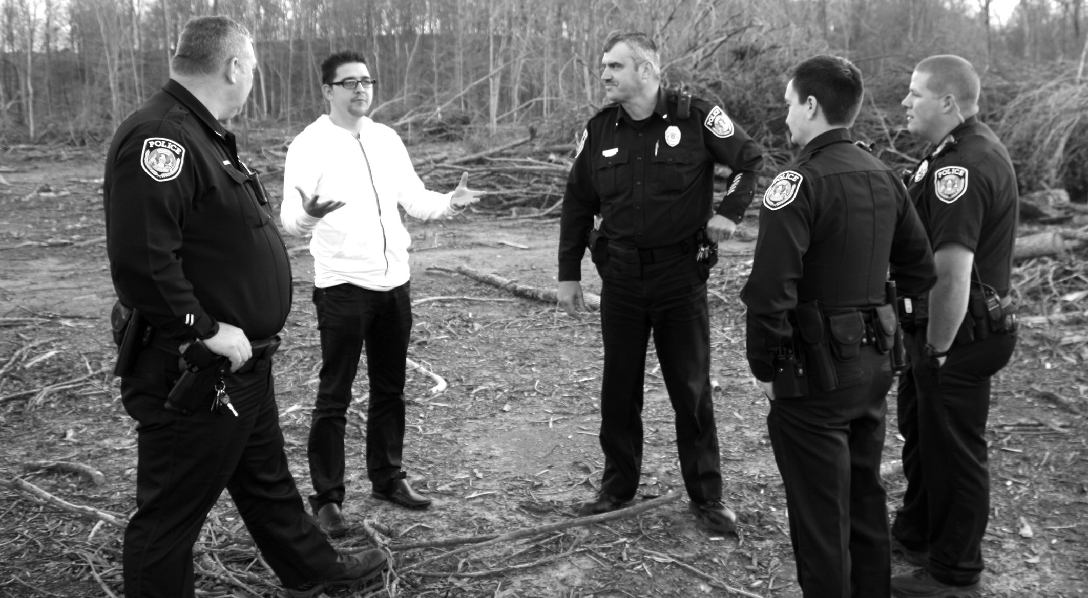 Duarte directs officers of the Oneonta Police Department who will be featured in his movie.