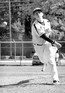 Redskin pitcher Blake O'Bryant warms up during the first-round sweep of Munford.