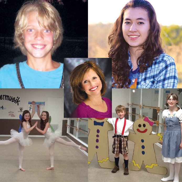 ( Top) From left: Hansel – Christopher Beason; Gretel – Hannah Huie; (Center) The Witch – Cindy Hastings (brace yourself for zaniness). (Bottom) From left: Fairies – Bethany Hogeland and Mary Meg Brewer; Gingerbread Kids (two of many) – Blanton and Jessie King