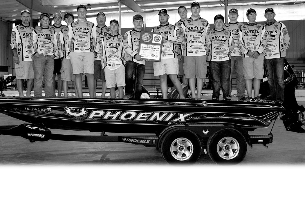 The Hayden High School fishing team won the season-ending tournament at Lake Tuscaloosa and captured the season-long series title with a come-frombehind win over Chelsea. Hayden was in second place, 24 points behind Chelsea, but rallied for the series win and defeated Chelsea by 38 points for the title. Each school collects points based on the top three boats at each regional tournament. This is the third straight year that Hayden has won the state title. Pictured are: (left to right) coach Scott Ashley, Bryce Hogeland, Taylor Ashley, Chase Kanute, Houston Calvert, Jimmy Swindle (boat captain), Austin Mize, Sam Swindle, Heath Seaver, Bailey Dutton, Zach Martin, Cody Armstrong, Rusty Moss, Josh Wissinger, and coach Chris Kanute.