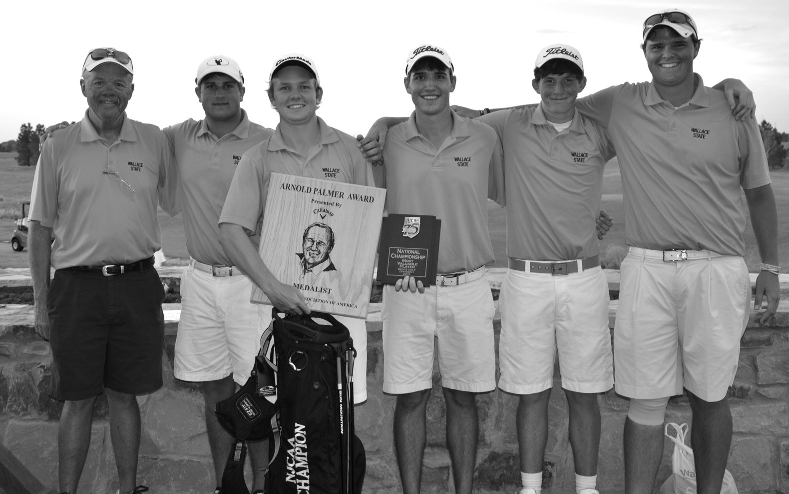 The Wallace State Community College golf team finished seventh at last month's national tournament in Lubbock, Texas. Wallace's Askel Olsen finished as the medalist with a total of 281 over the four rounds. Oneonta's Jake Miller shot a 291 to finish in a tie for 21st. The tournament was won by Central Alabama Community College. Pictured are (left to right) coach Dan York, Jake Miller, Askel Olsen, Michael Zierdt, Chris Atchley, and Patrick Twesme. – Rob Rice