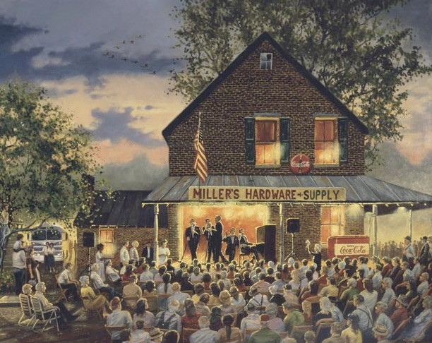 THEN: 'Old Time Gospel Singing' by painter of rural America Dave Barnhouse recreates the time when gospel singings were held on small town main streets, in county courthouses, at rural churches, at camp meetings, and probably in a few brush arbor revivals on the creekbank or down by the riverside. (by artist's permission)