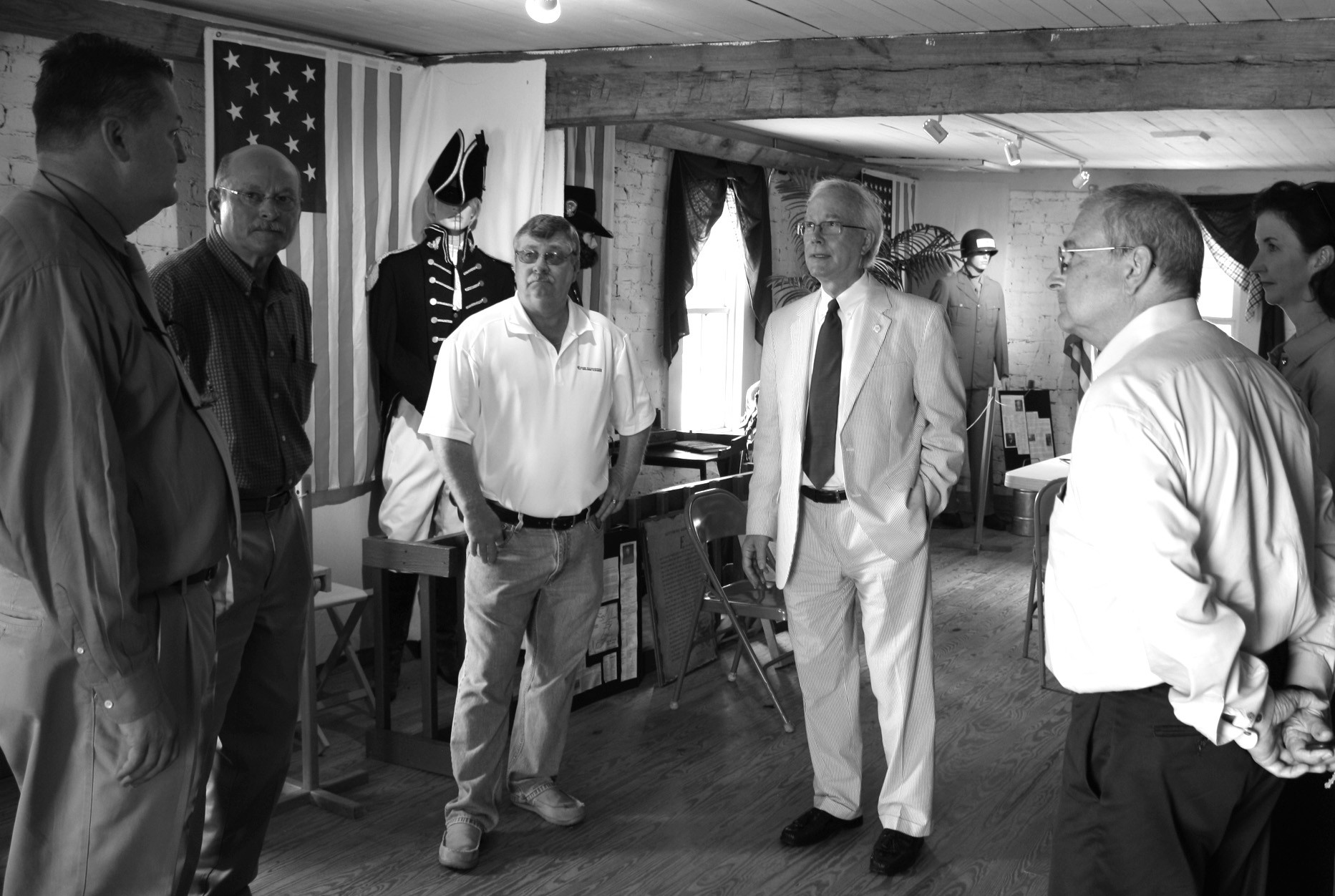 Blount County and surrounding area representatives met with Alabama tourism director Lee Sentell (center, right – wearing tie) to tour Blountsville including the Blountsville Historical Park.