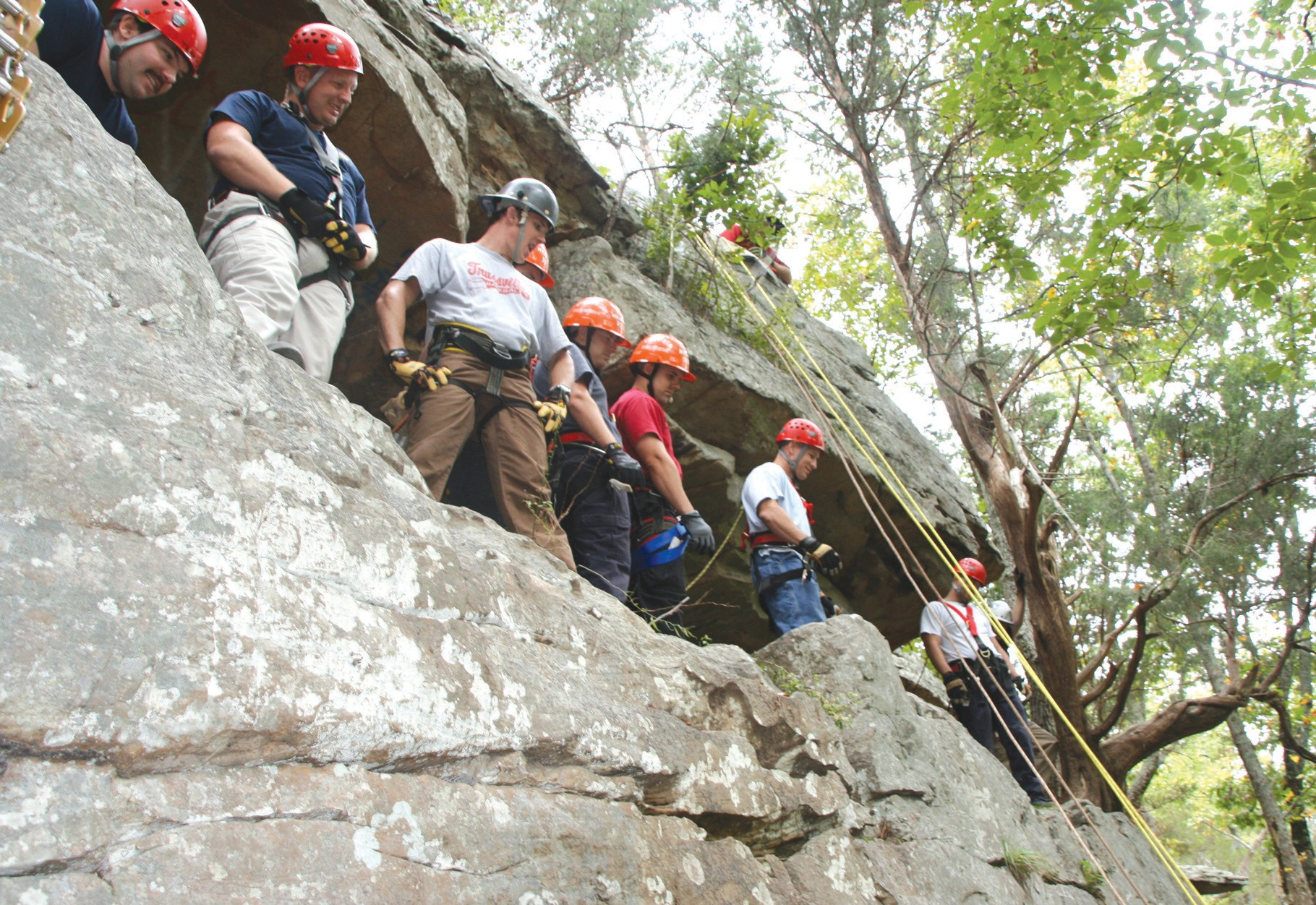 Fourteen participants from eight fire and rescue departments, including Oneonta, Leeds, and Montgomery, learned the ins and outs of rope rescue last week. Conducted at Palisades Park, training for rescue personnel included rescue rappelling, third man rescue, uses and limitations of equipment, and lowering systems, according to Oneonta Fire Chief Arthur Willis. – Nicole Singleton