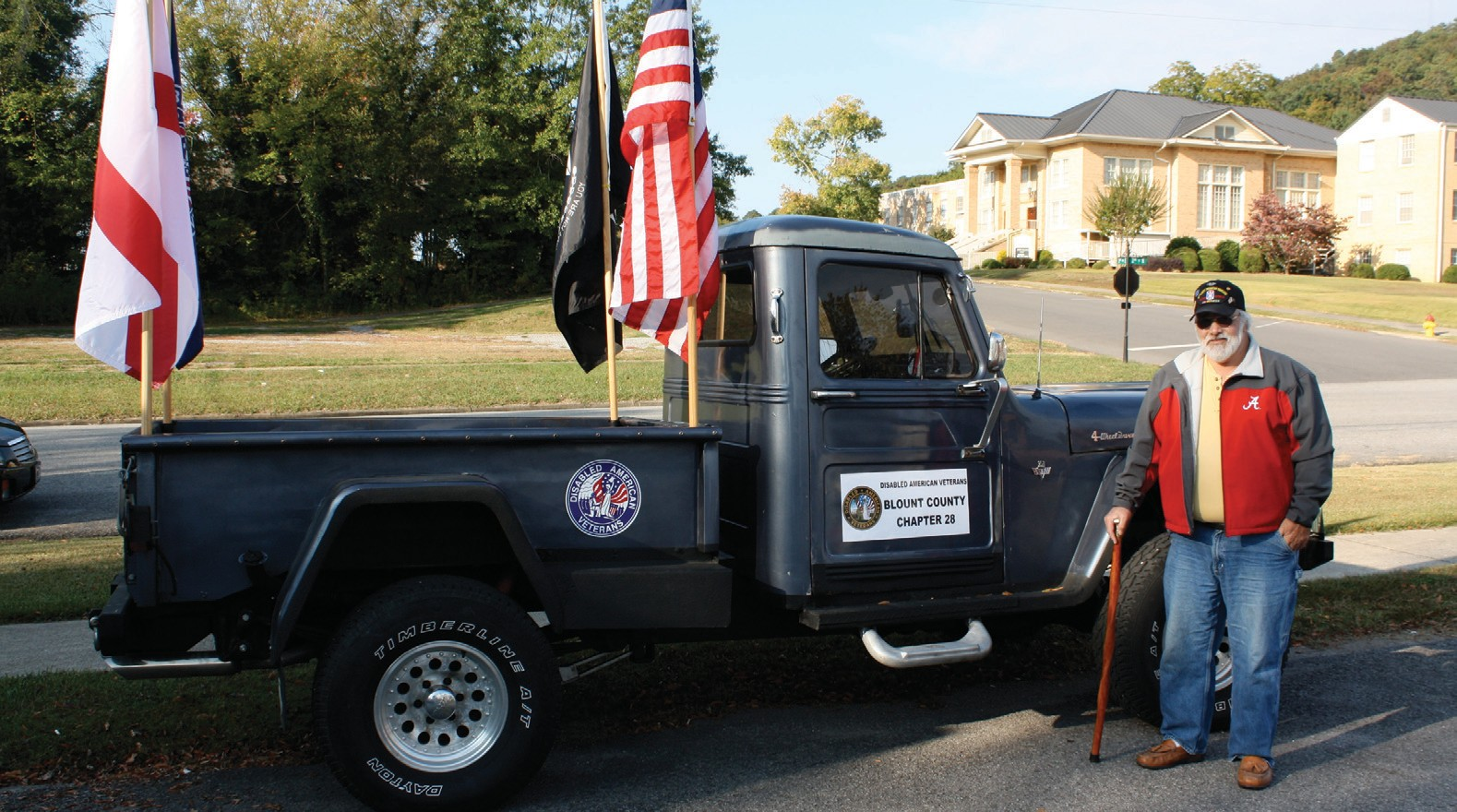 Vietnam Veteran Jeff Horn will drive his flag-decorated truck during the Veterans Parade on Saturday.