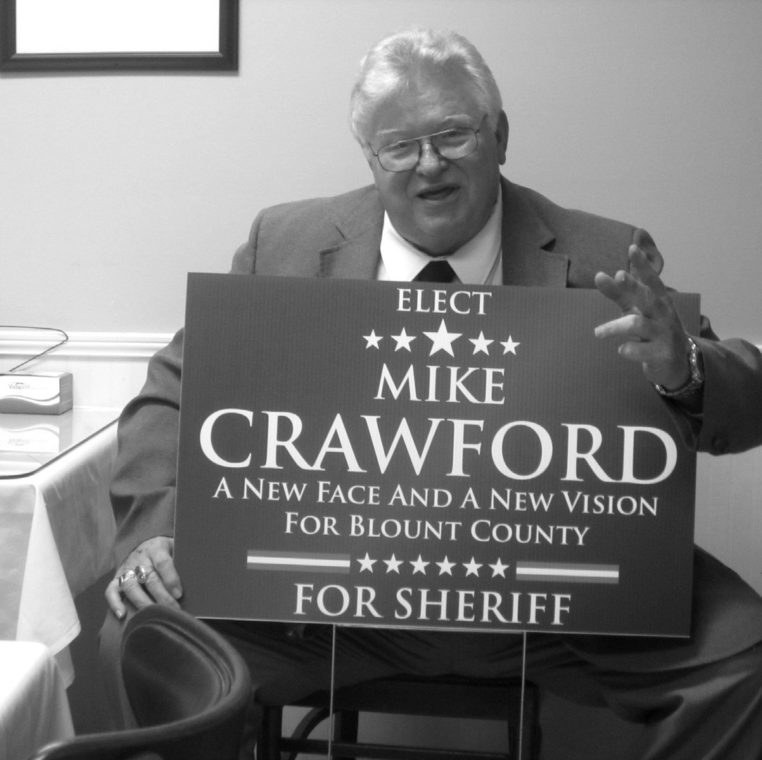 The first hat in the ring for the 2014 county elections comes from Mike 'Cookie' Crawford, candidate for sheriff. Crawford held his early-season announcement party at a luncheon meeting for supporters at Charlie B's Nov. 1. 'The main thing I want to do as sheriff is to increase the professionalism and accessibility to the people of the Sheriff's Department. I'm also concerned that there's not enough law enforcement coverage in West Blount west of I-65. As sheriff, I will address that.' Crawford said his major focus would be on achieving accreditation for the department by CALEA, the Committee on Accreditation for Law Enforcement Agencies. Crawford is a former officer with the Birmingham Police Department. Crawford said he was recognized as Officer of the Year for Alabama in 1987-88 and has lived in Oneonta since 1997. Crawford and other candidates for Blount County public office will be profiled in detail following the qualification deadline of April 4 for the 2014 primary election on June 3. – Ron Gholson