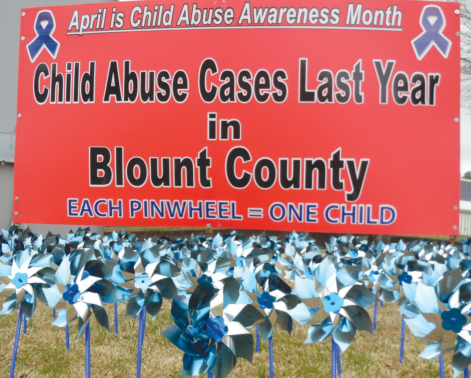 Pinwheels represent the 135 child abuse cases investigated in Blount County last year.