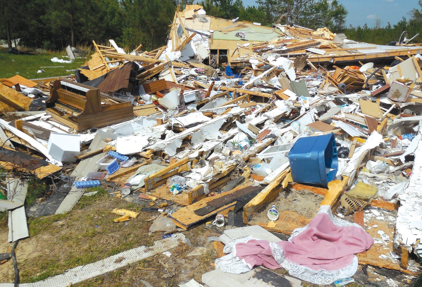 Rick and Linda Johnston were trapped for more than an hour when their trailer was destroyed.