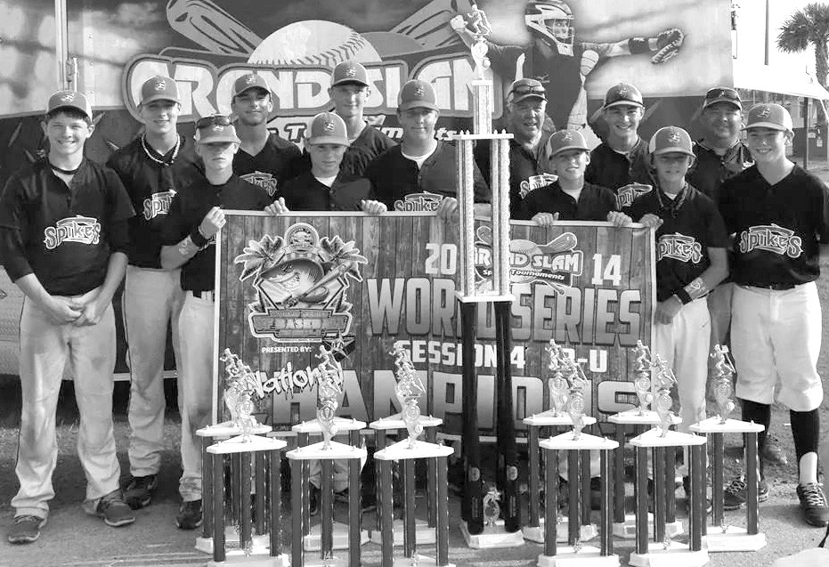 The Blount County-based Spikes Baseball Club won the Grand Slam World Series last month at Panama City. Against teams from Georgia, Mississippi, Texas, Missouri, and Indiana, the Spikes rolled through the tournament undefeated to the championship game. In the final, the Spikes were knocked off by Stix of Dallas to force a second game for the championship. The title game went back and forth before the Spikes rallied for a run in the eighth inning to take home the championship. The Spikes finished the summer with a record of 46-6 and won 9 of the 11 tournaments they entered (finishing second in the other two). Pictured are: front row (left to right) Jackson Devaney, Rance Phillips, Will Hotalen, Braedon Grandstaff, Austin Young, Jacob Smith, and Brody Moore. Back row (l to r) Jake Hodge, Chase Isbell, Garrett Sanders, coach Tony Moore, Will Bearden, coach Brent Devaney.