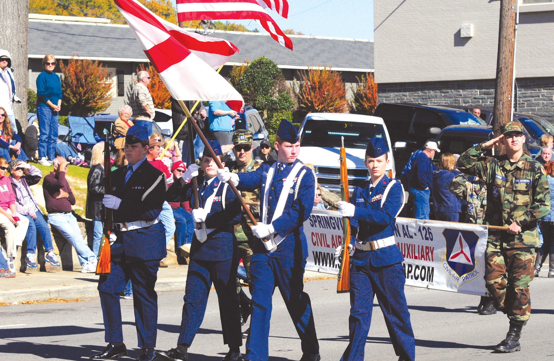 Big crowds lined the streets of Oneonta along the route of the Blount County Veterans Day Parade Saturday. Almost 40 entries and five high school bands participated in this year's event, honoring those who served – and are serving – our country. The annual event is sponsored by Operation Grateful Heart. Walt Whitman said it best of veterans in his poem, 'A Nation's Strength' – 'Not gold, but only man can make, A people great and strong; Men who, for truth and honor's sake, Stand fast and suffer long. Brave men who work while others sleep, Who dare while others fly – They build a nation's pillars deep, And lift them to the sky.' - Rob Rice