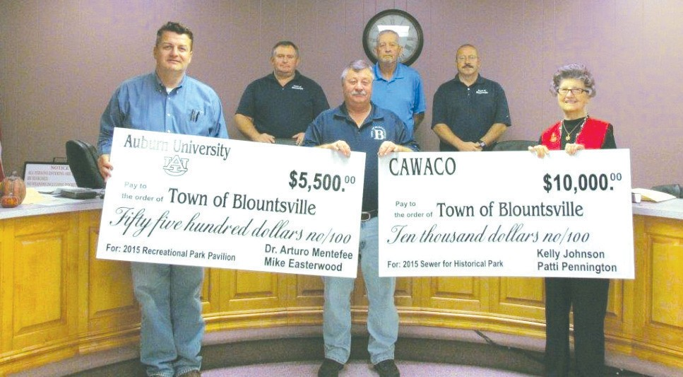 Grant grabbers. (Front row, from left) Blountsville council member Dennis Beavers, Mayor Michael Glass, and council member Dicey Childers; (back row, from left) council members Barry Smith, Larry Newman, and Kenny Mullins. Not shown: state Rep. Randall Shedd and state Sen. Clay Scofield who both contributed to the team effort.